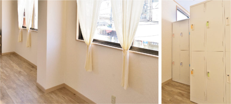 守口スタジオの窓辺に光が差し込む